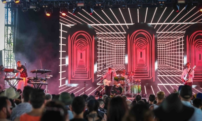 INDIO, CA - APRIL 21: Django Django performs at Coachella at Empire Polo Club in Indio, California on April 21, 2018. (Photo: Mark Ostrom)