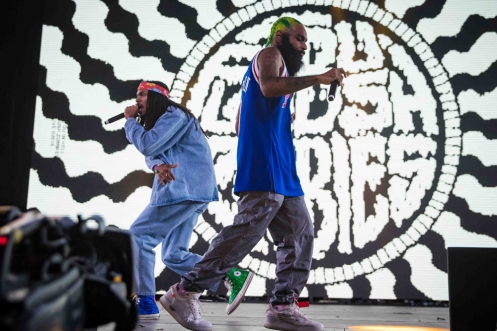 INDIO, CA - APRIL 21: Flatbush Zombies performs at Coachella at Empire Polo Club in Indio, California on April 21, 2018. (Photo: Mark Ostrom)