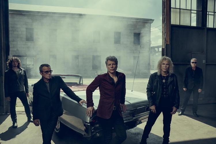 Bon Jovi (l-r): Phil X, Tico Torres, Jon Bon Jovi, David Bryan, Hugh McDonald. (Courtesy of Island Records)