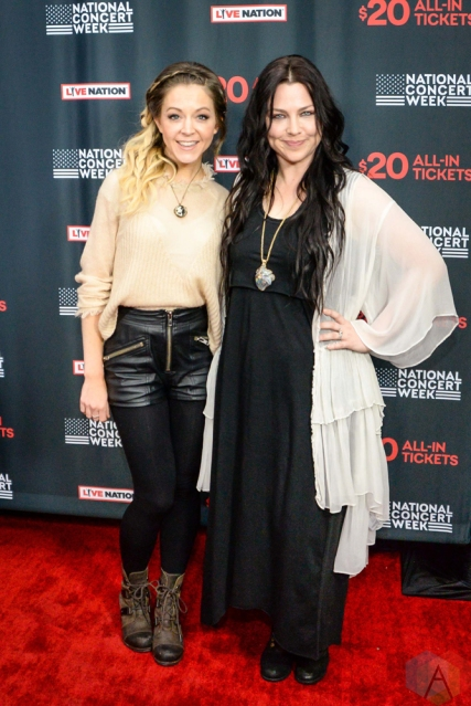 NEW YORK, NY – APRIL 30 - Lindsey Stirling (left) and Amy Lee of Evanesence attend the Live Nation National Concert Week press day at Hammerstein Ballroom in New York City on April 30, 2018. (Photo: Alex Bear/Aesthetic Magazine)