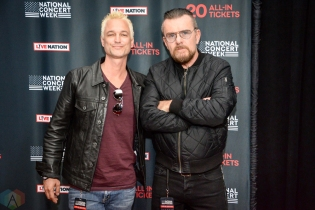 NEW YORK, NY – APRIL 30 - Jeff Gutt of Stone Temple Pilots (left) and Billy Duffy of The Cult attend the Live Nation National Concert Week press day at Hammerstein Ballroom in New York City on April 30, 2018. (Photo: Alex Bear/Aesthetic Magazine)