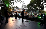 STUDIO CITY, CA - JUNE 28: James Iha, Billy Corgan, and Jeff Schroeder of The Smashing Pumpkins perform during the 1979 House Party at a private residence on June 28, 2018 in Studio City, California. (Photo: Kevin Mazur/Getty)