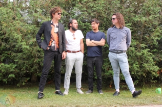 ELORA, ON - AUGUST 18: Born Ruffians pose for a portrait at Riverfest Elora in Elora, Ontario on August 18, 2018. (Photo: Curtis Sindrey/Aesthetic Magazine)