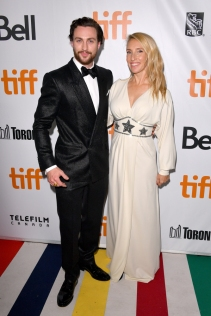 "TORONTO, ON - SEPTEMBER 06: Aaron Taylor-Johnson (L) and Sam Taylor-Johnson attend the ""Outlaw King"" premiere during the 2018 Toronto International Film Festival at Roy Thomson Hall on September 6, 2018 in Toronto, Canada. (Photo by George Pimentel/Getty Images for TIFF)"
