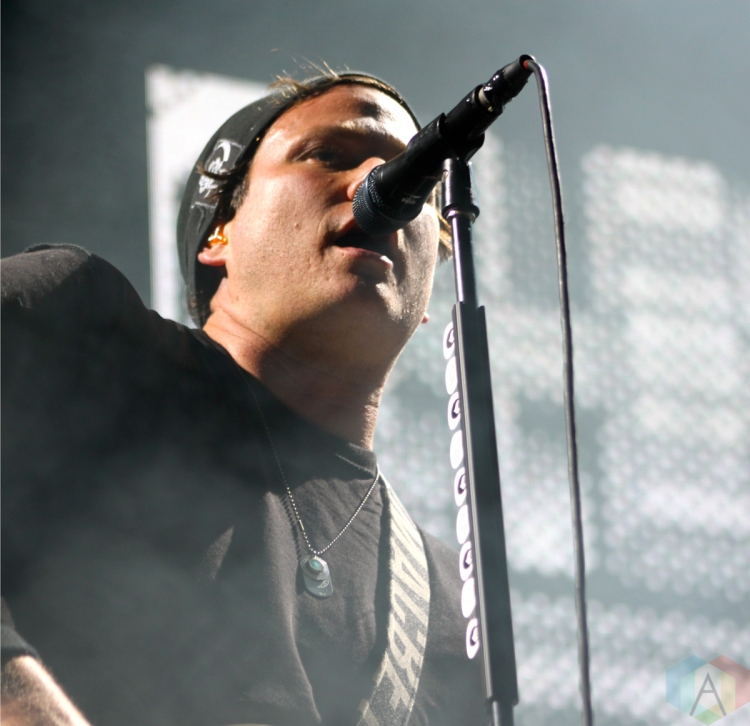 TORONTO, ON - AUGUST 17: Tom Delonge of Blink-182 performs at the Molson Amphitheatre in Toronto, Ontario on August 17, 2011. (Photo: Curtis Sindrey)