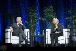 TORONTO, ON - NOVEMBER 27: Bill Clinton and Hillary Clinton appear at Scotiabank Arena in Toronto on November 27, 2018. (Photo: Jaime Espinoza/Aesthetic Magazine)