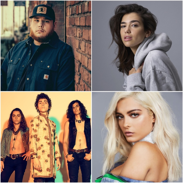 (L-R) Luke Combs, Dua Lipa, Greta Van Fleet, and Bebe Rexha.