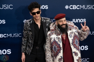LONDON, ON - MARCH 17: Chromeo attends the 2019 Juno Awards red carpet at Budweiser Gardens in London, Ontario on March 17, 2019. (Photo: Brendan Albert/Aesthetic Magazine)