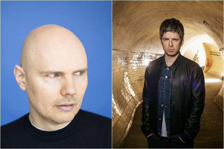 Billy Corgan of Smashing Pumpkins (L) and Noel Gallagher.