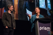 TORONTO, ON - MAY 13: Tyler Bancroft (L) and Johnny Jansen appear at the Prism Prize gala at TIFF Lightbox in Toronto on May 13, 2019. (Photo: Joanna Glezakos/Aesthetic Magazine)