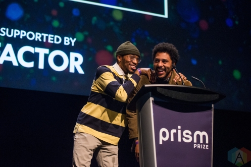 TORONTO, ON - MAY 13: Cola H (L) and Harrison appear at the Prism Prize gala at TIFF Lightbox in Toronto on May 13, 2019. (Photo: Joanna Glezakos/Aesthetic Magazine)
