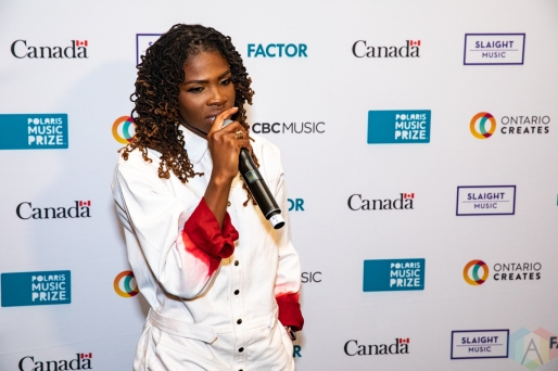 TORONTO, ON - SEPTEMBER 16: Haviah Mighty appears at the Polaris Music Prize gala at The Carlu in Toronto on September 16, 2019. (Photo: Brendan Albert/Aesthetic Magazine)