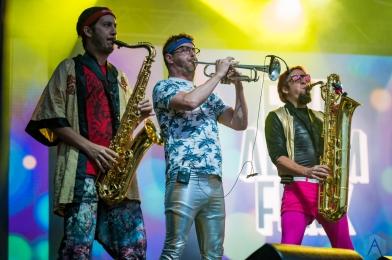 EDMONTON, AB – Aug. 6: Five Alarm Funk performs at the Racetrack Infield in Edmonton, AB. on August 6, 2021. (Photo: Tyler Roberts/Aesthetic Magazine)