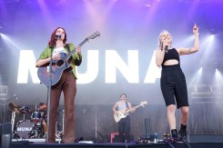 NEW YORK, NEW YORK - SEPTEMBER 25: Pheobe Bridgers performs with Katie Gavin of Muna during the 2021 Governors Ball Music Festival at Citi Field on September 25, 2021 in New York City. (Photo by Taylor Hill/Getty Images for Governors Ball)