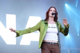 NEW YORK, NEW YORK - SEPTEMBER 25: Katie Gavin of Muna performs during the 2021 Governors Ball Music Festival at Citi Field on September 25, 2021 in New York City. (Photo by Taylor Hill/Getty Images for Governors Ball)